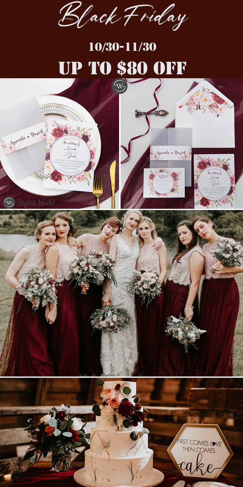 burgundy wedding invitation ideas