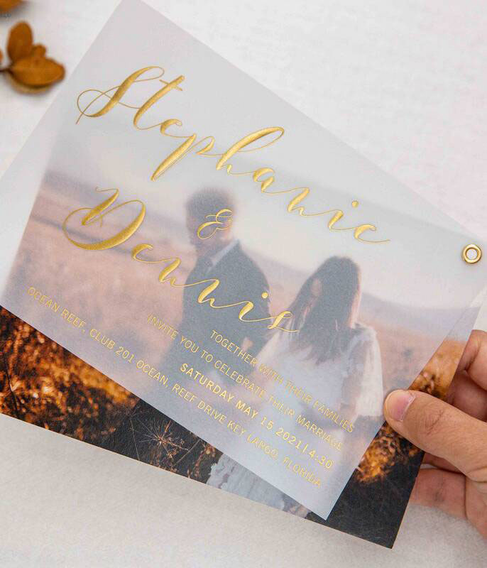 custom photo wedding invitation with rose goldgoldsilver foil vellum paper layered