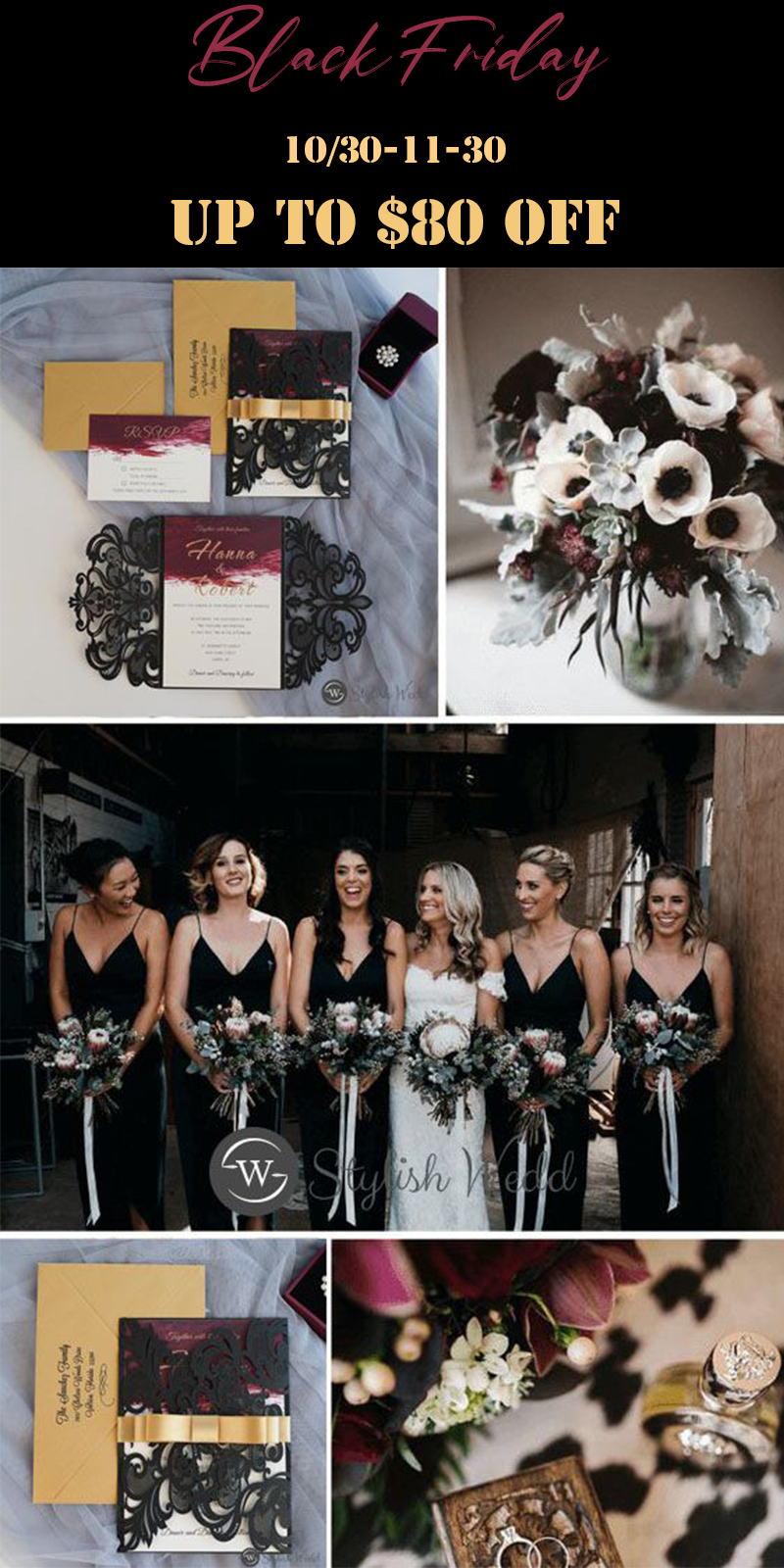 elegant and unique black friday sale wedding invitation ideas