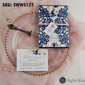 romantic-navy-blue-and-pink-floral-laser-cut-wedding-invitations-with peach ribbon-swws125