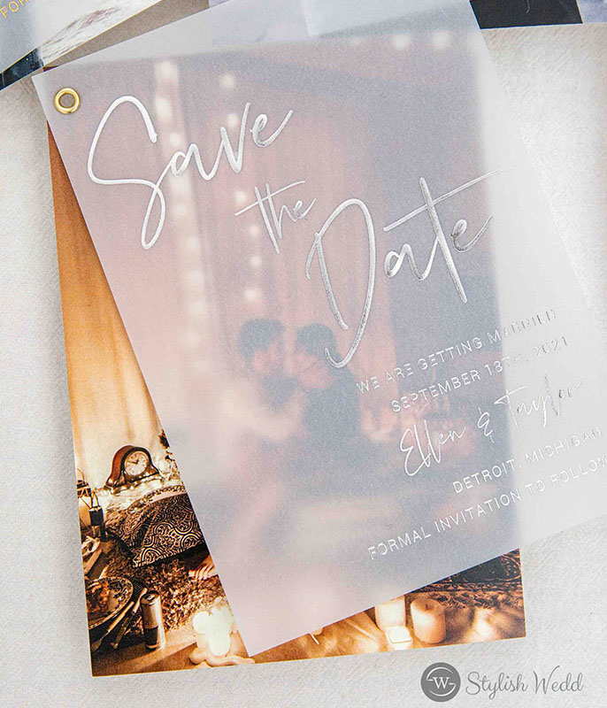 simple modern rose gold gold silver foil vellum save the date card edit with your own engagement photo
