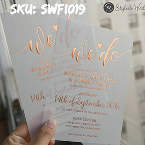 unique custom rose gold gold silver foil vellum wedding invitations SWFI019