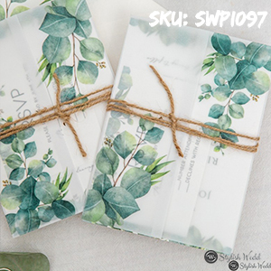 vellum jacket wedding invitation set with printed eucalyptus greenery and rope SWPI097