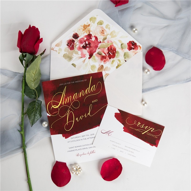 wine and gold watercolor wedding invitations
