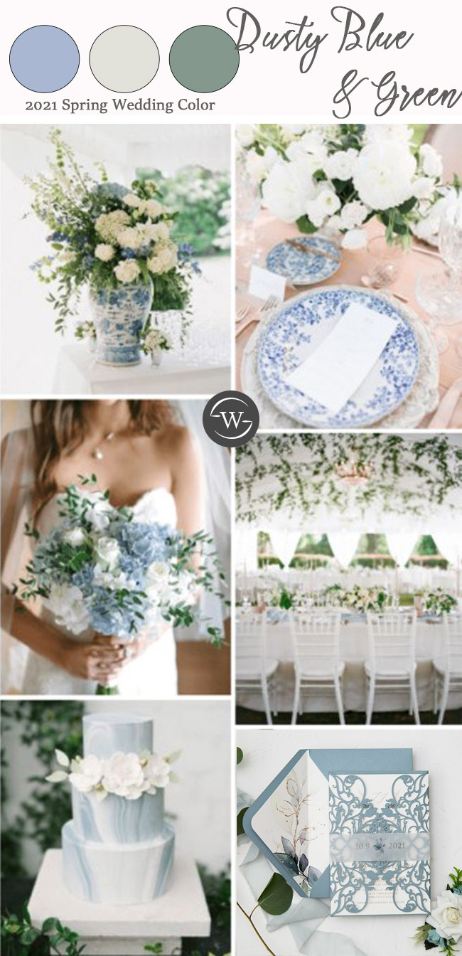 2021 spring wedding color ideas for dusty blue and green