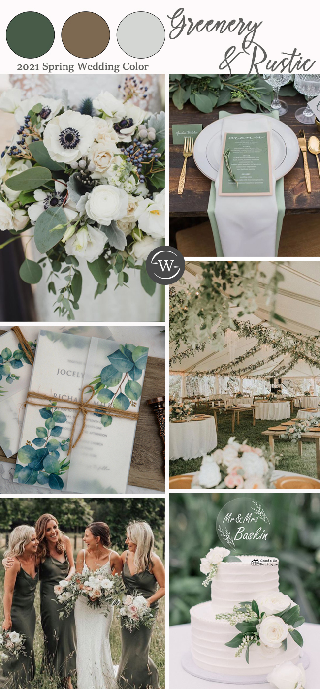 2021 wedding color inspiration alter for greenery and rustic