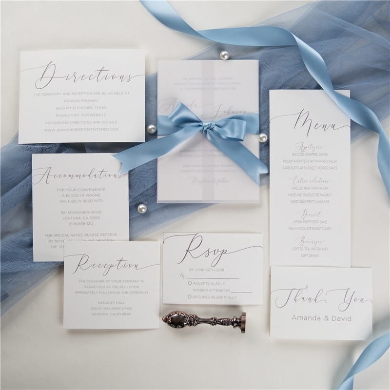 elegant caligraphy wedding invitations with vellum paper pocket and french blue silk