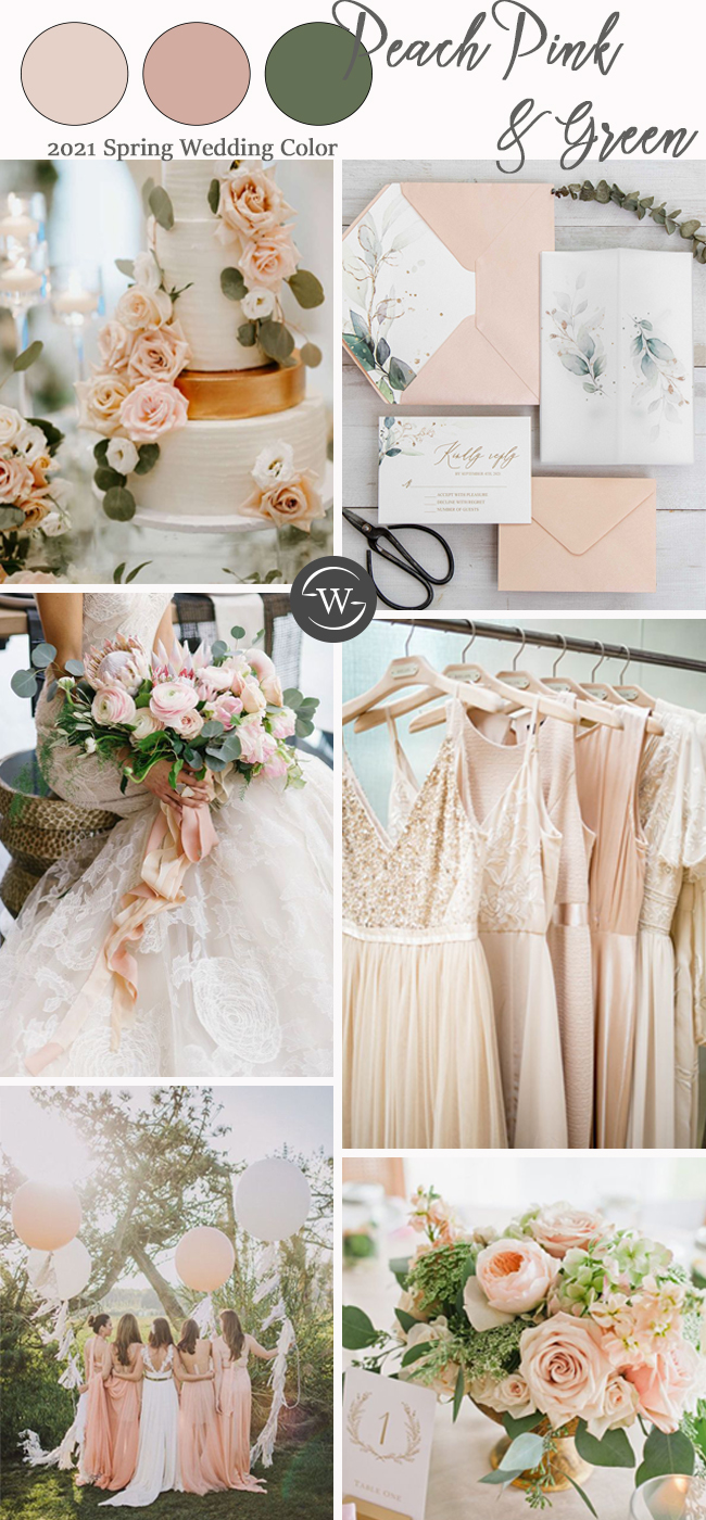 romantic elegant wedding color ideas for light peach and green
