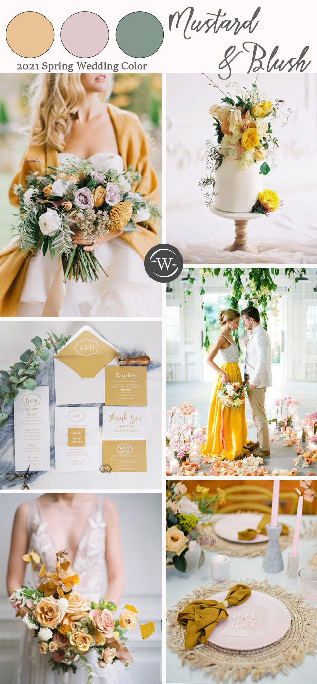 spring wedding color ideas for mustard and blush