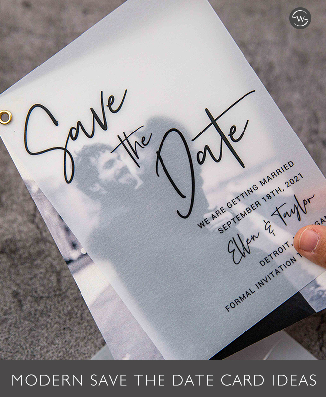 Simple digital printing vellum save the date card edit with a modern photo layer SWTD002