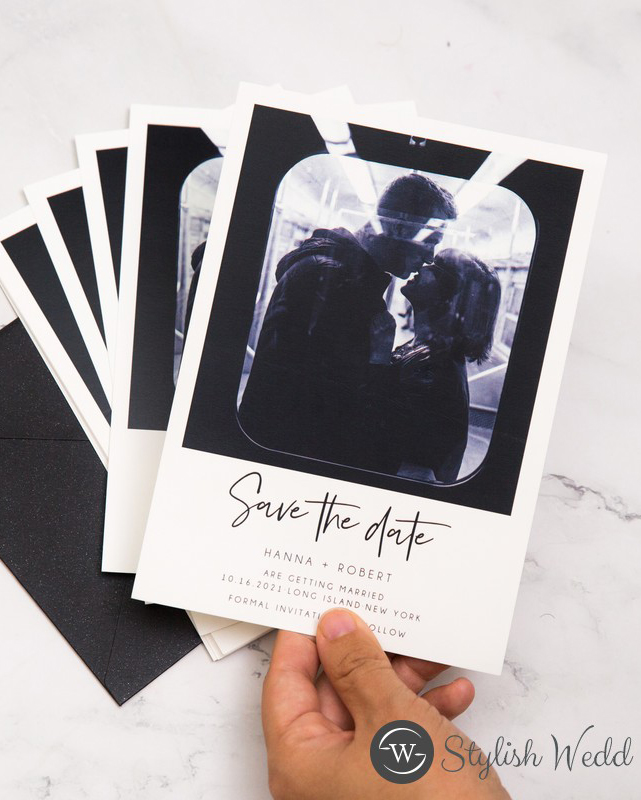 affordable black and white modern save the date photo cards SWTD004-2