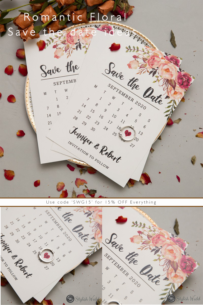 bohemian pink floral watercolor wedding save the date cards SWTD007