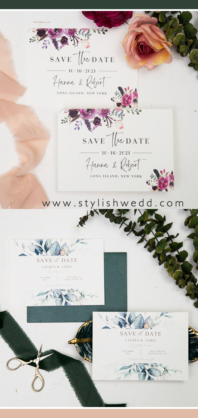 elegant greenery botanical save the date cards SWTD009