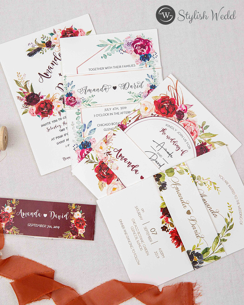 affordable floral wedding stationery for all seasons