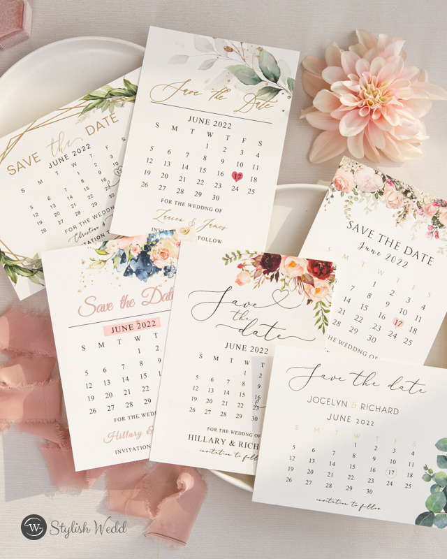 affordable save the dates with floral and candeler design