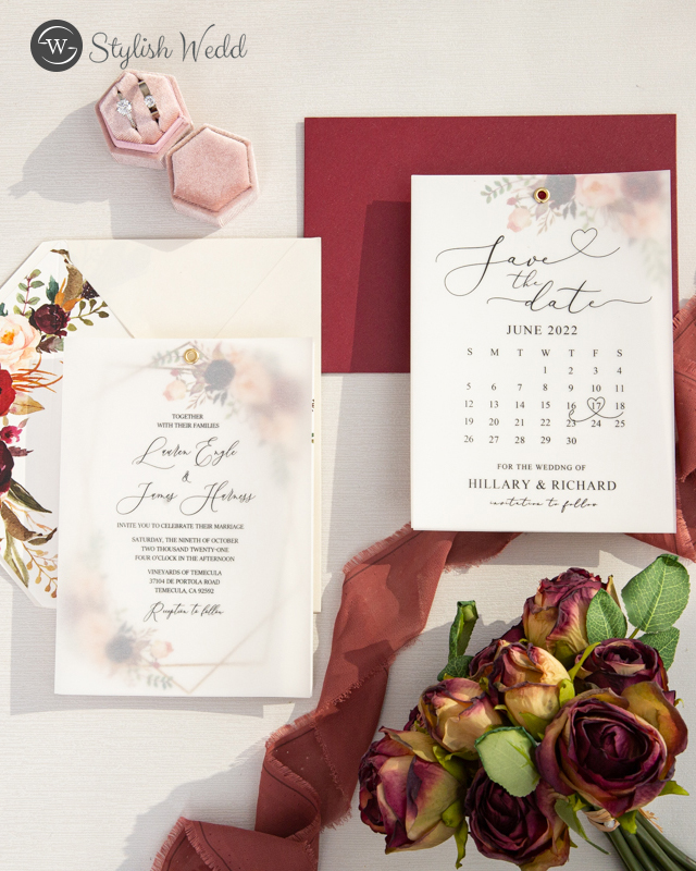 burgundy and blush chic wedding invitation and save the dates
