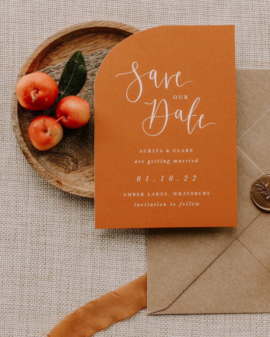 copper rust wedding save the date ideas