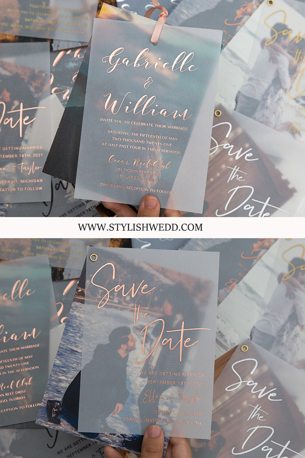 modern photo wedding stationery of invitation and save the dates