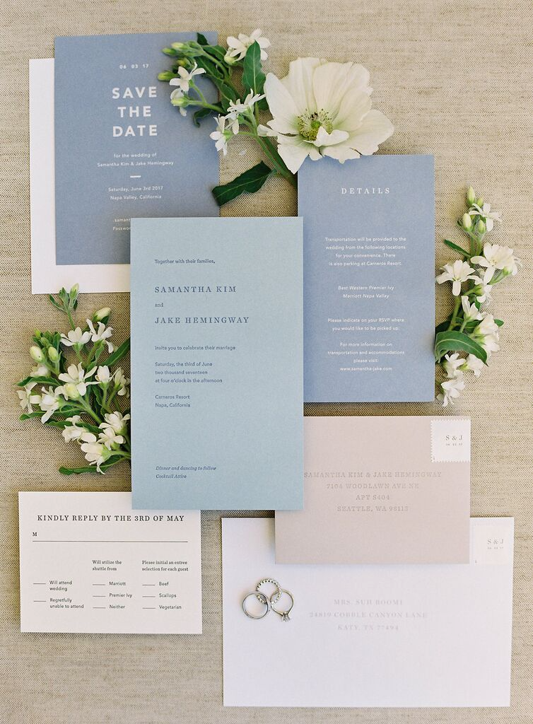 modern simple minimalist wedding stationery of invitation and save the date cards