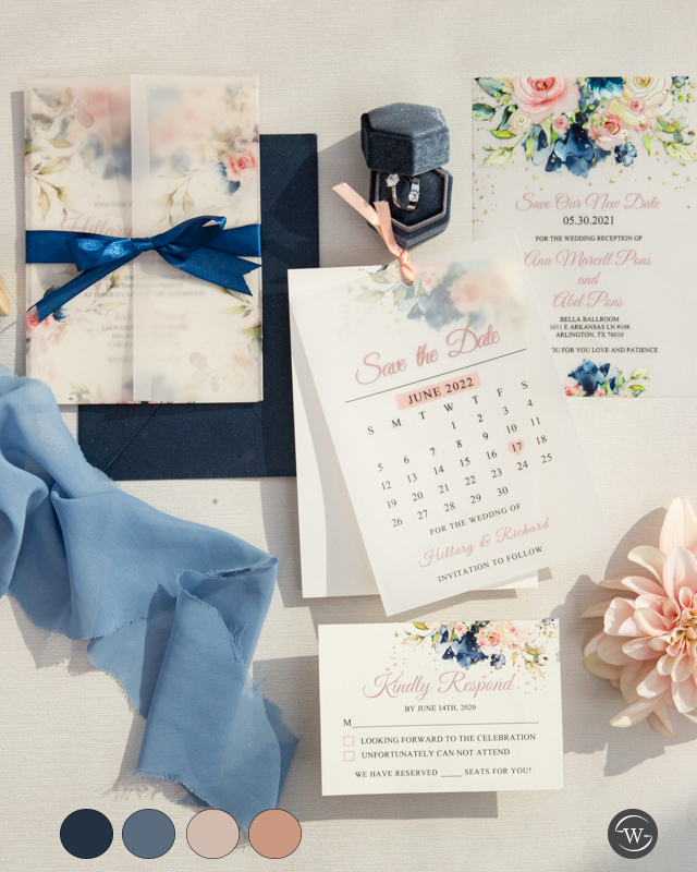 navy and blush wedding save the dates and invitations