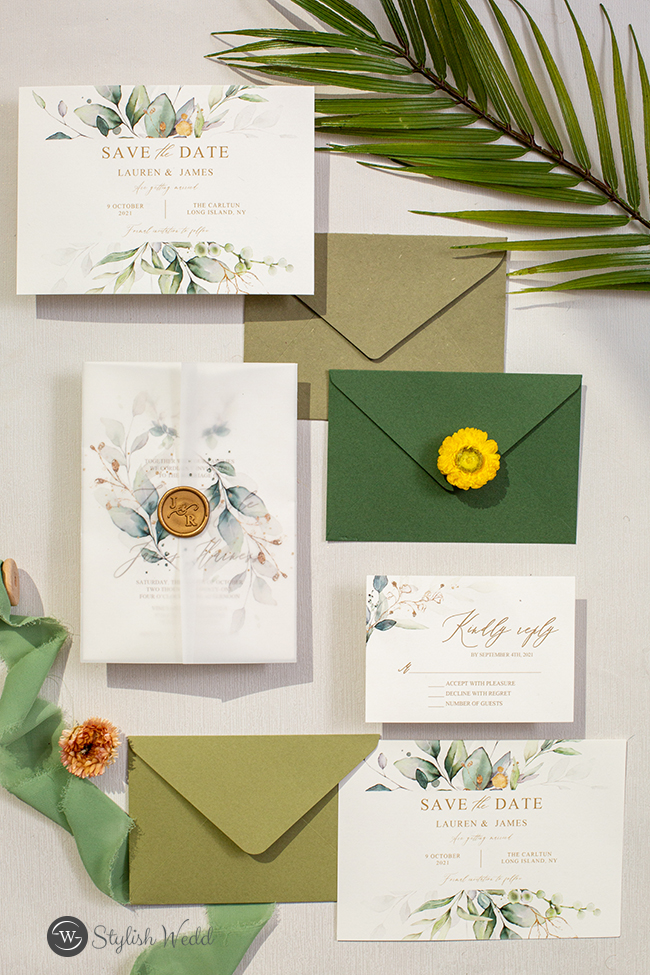pretty greenery wedding invitation and save the dates suites