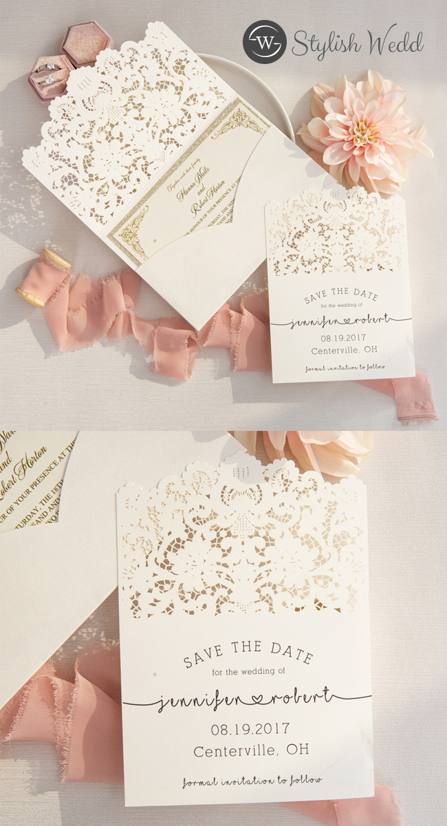 vintage lace wedding stationery package of invitation and save the dates