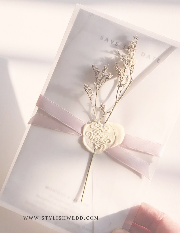 fancy and romantic wedding save the date ideas with vellum envelope and wax seal