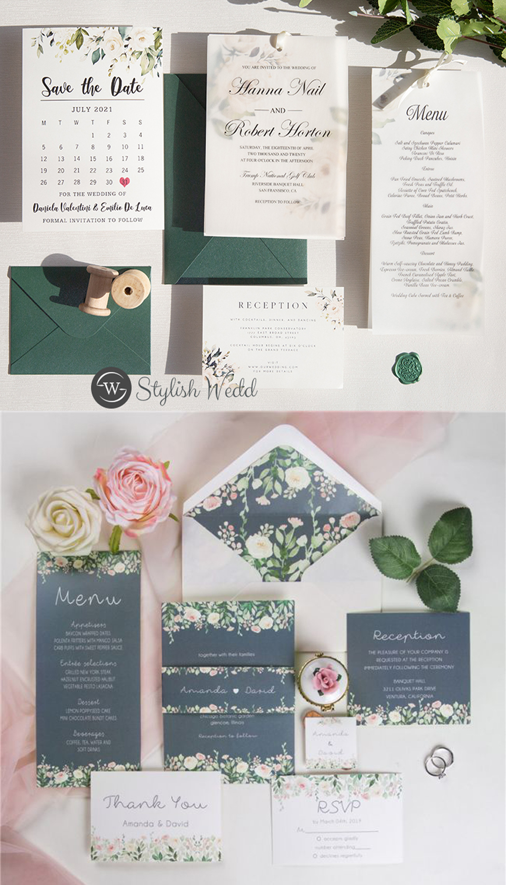 floral and greenery wedding stationery suites ideas