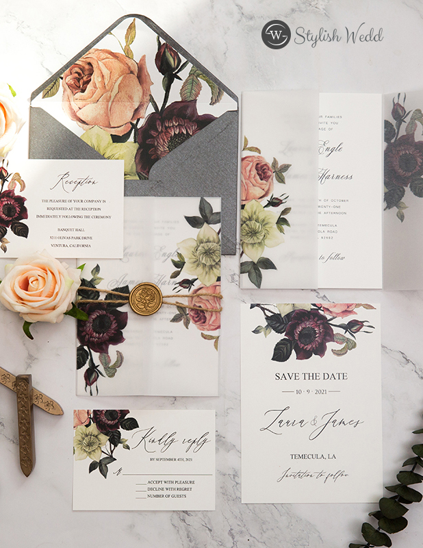 moody burgundy and blush floral vellum pocket wedding invitation rope with wax seal