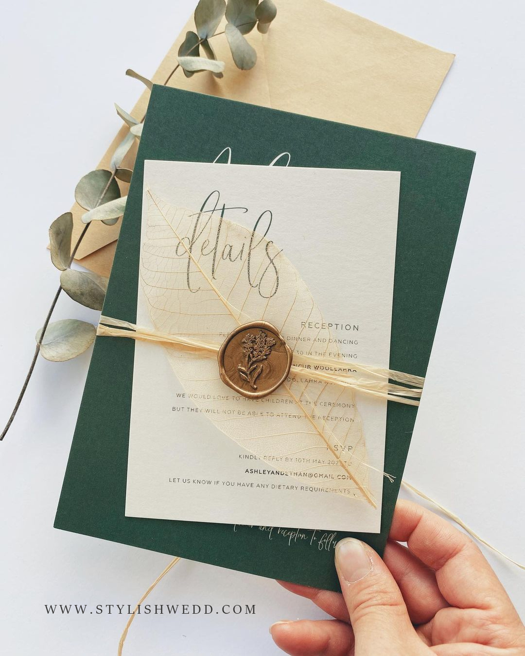 sage green wedding invitation ideas with detail cards