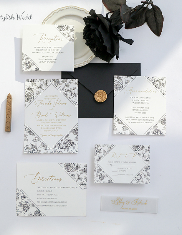 simple moderna and chic floral wedding invitation kits
