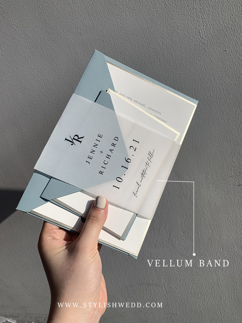wedding invitation decor with vellum band for modern dusty blue suite