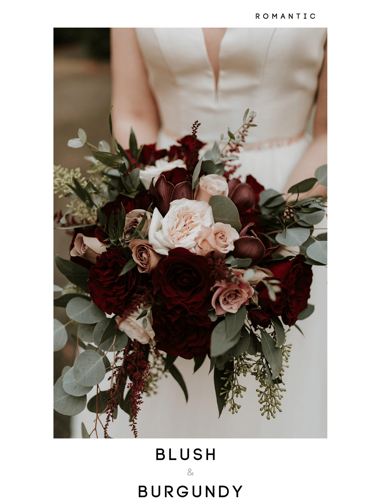 romantic fall bouquets with deep red and pink roses