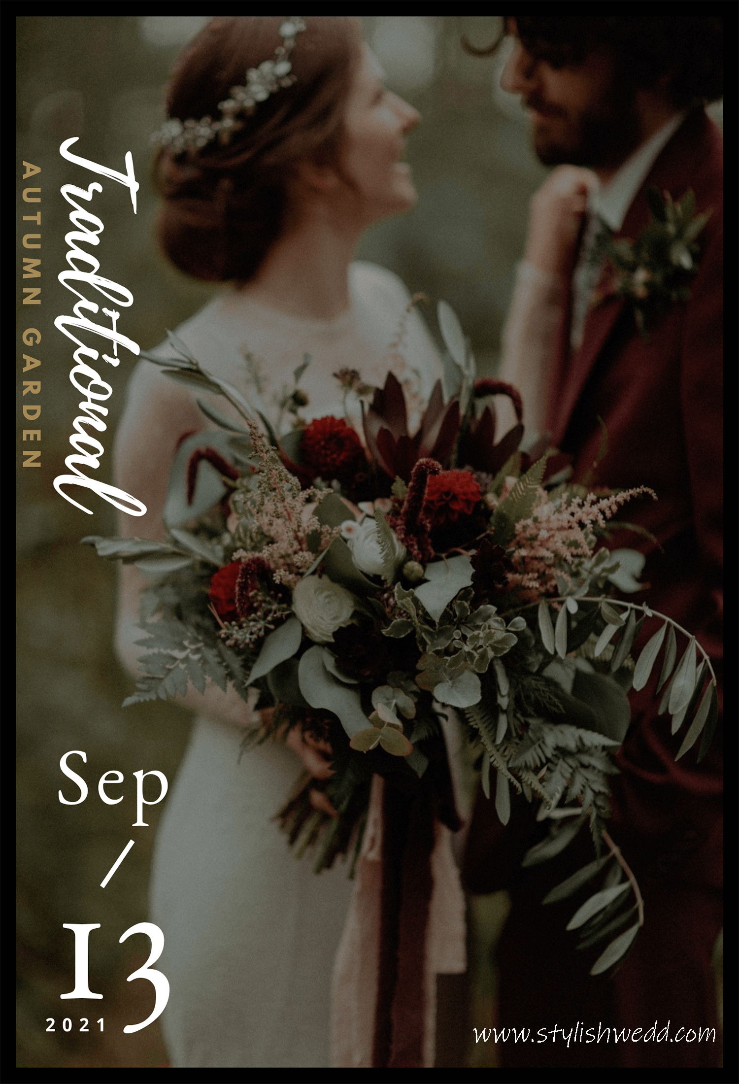 atmospheric traditional autumn wedding bouquets in shades of dark red & burgundy