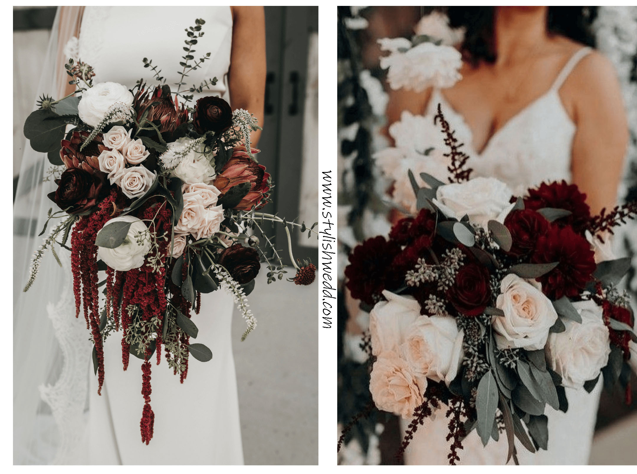 deep red + burgundy and grey with a touch of gold for fall wedding bouquets
